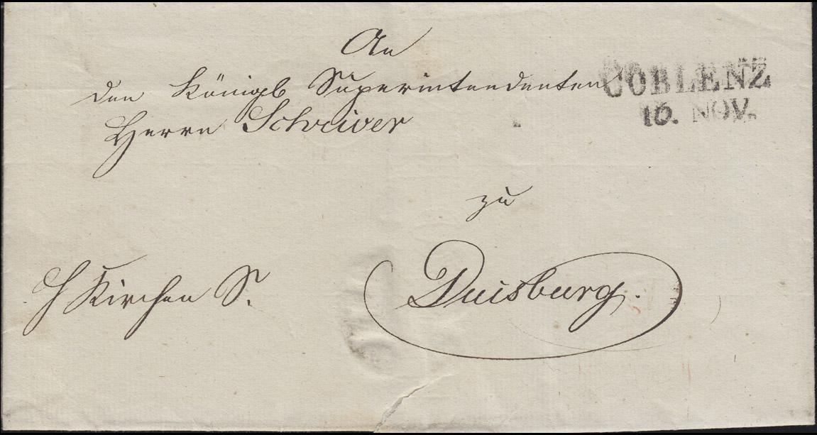 Preußen Vorphilatelie Briefhülle Zweizeiler L2 COBLENZ 10. NOV. nach Duisburg