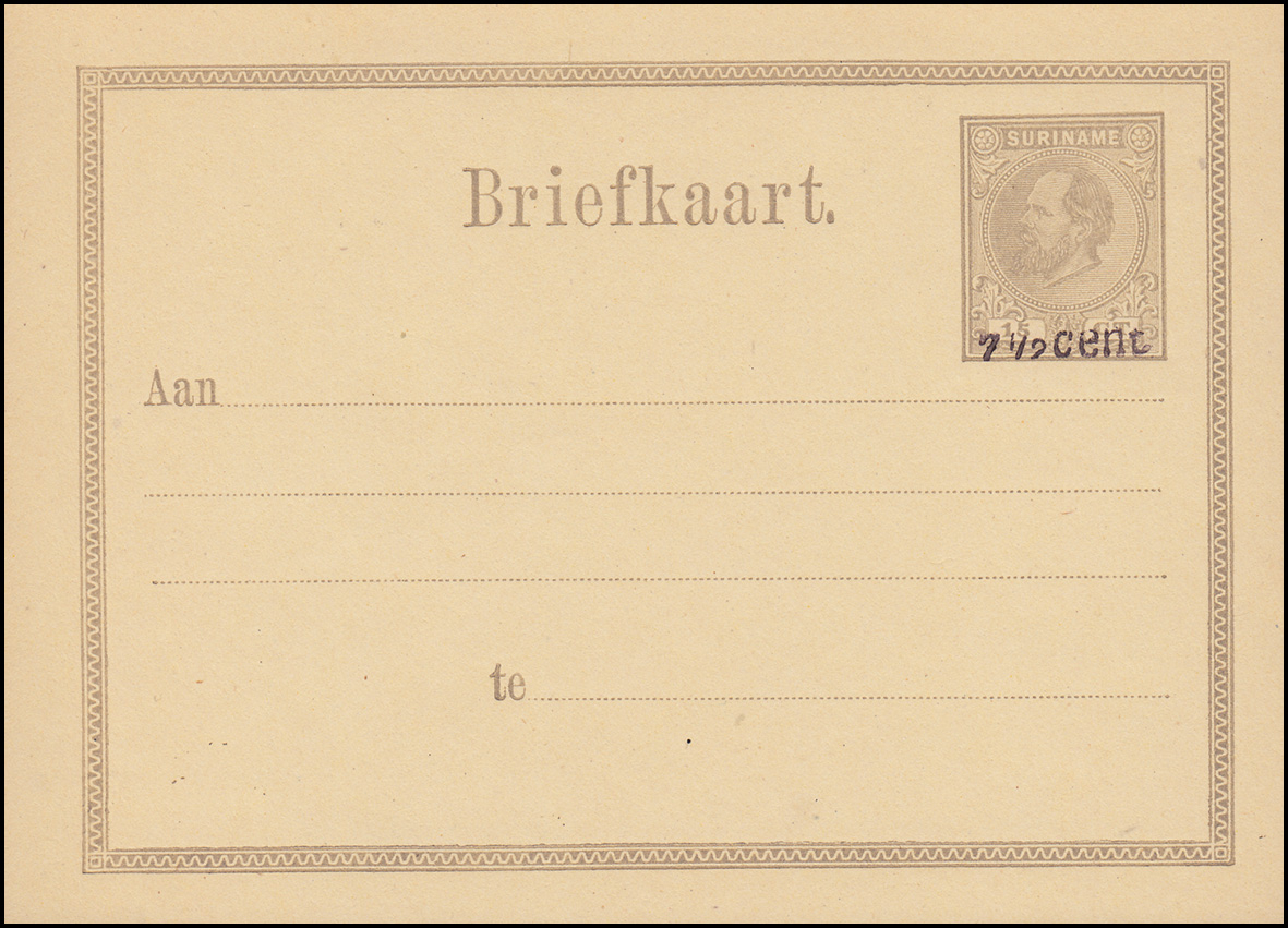 Surinam Postkarte / Post Card 15 Ct mit Aufdruck 7 1/2 Cent 1879, ungebraucht **
