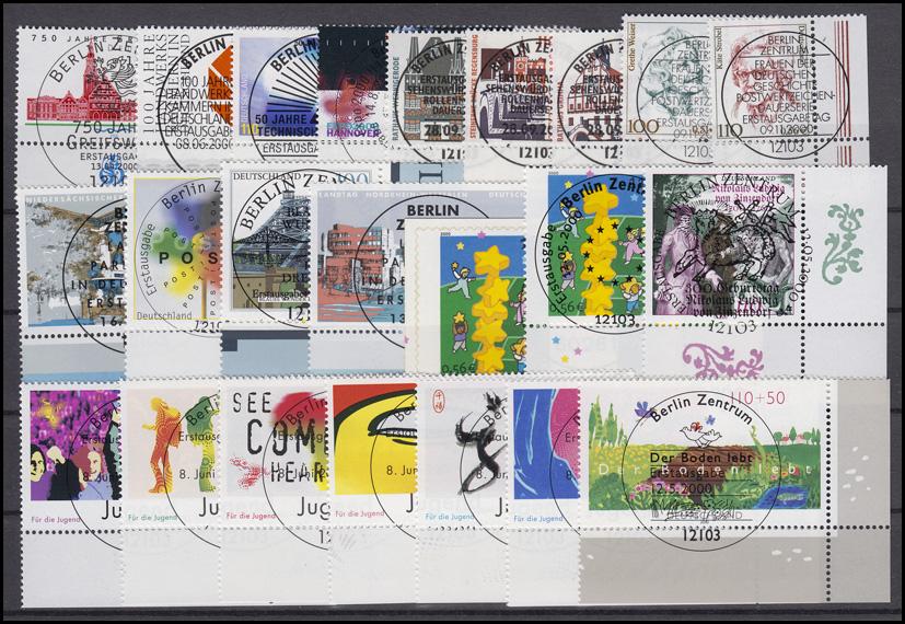 2087-2155 Bund-Jahrgang 2000 Ecken unten rechts, komplett mit ESSt Berlin