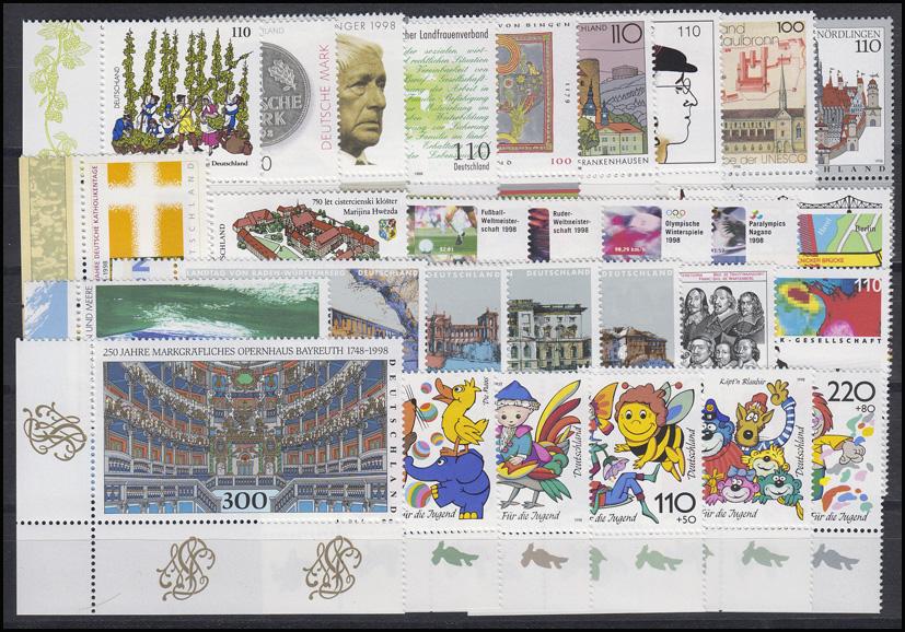 1965-2026 Bund-Jahrgang 1998 Ecken unten links, komplett **