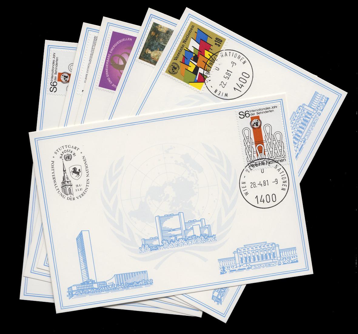 UNO Wien Weiße Karten Jahrgang 1981, Set Nummer 12-17 komplett