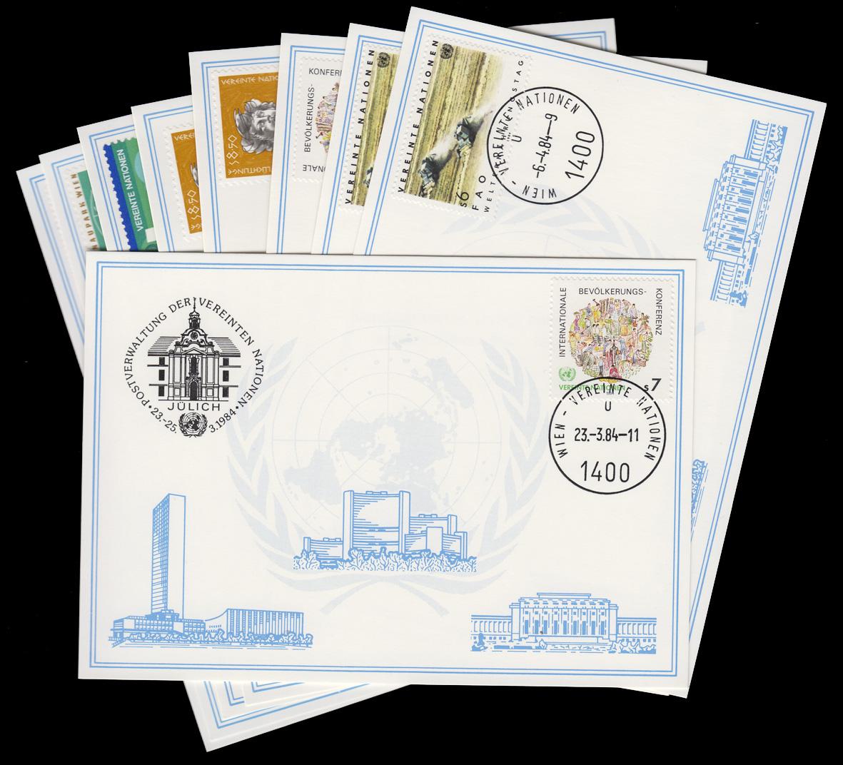 UNO Wien Weiße Karten Jahrgang 1984, Set Nummer 35-43 komplett