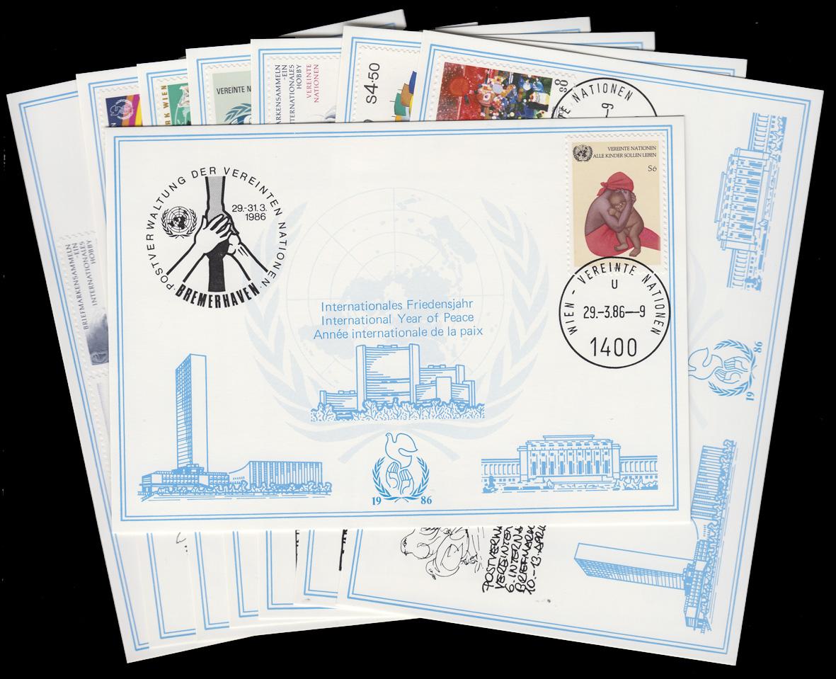 UNO Wien Weiße Karten Jahrgang 1986, Set Nummer 55-62 komplett