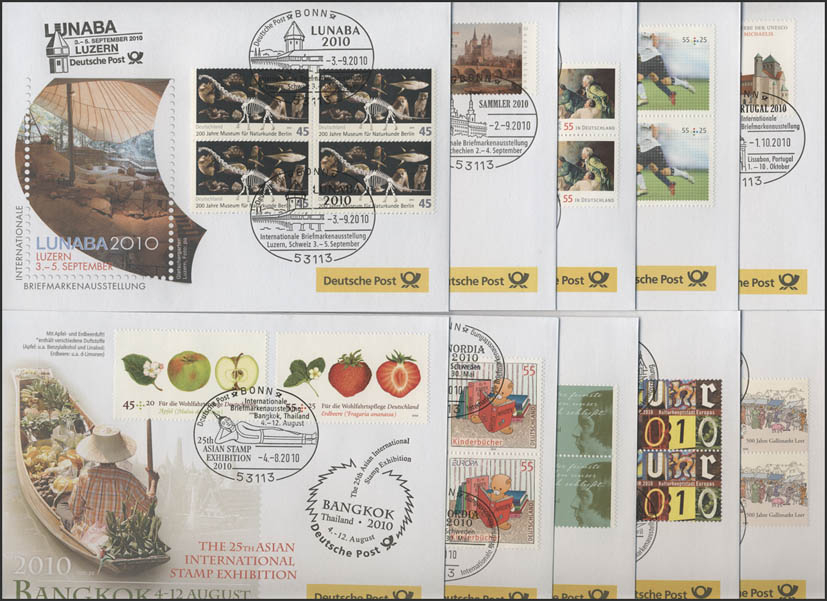 Ausstellungsbelege Jahrgang 2010 Nr. 147 bis 156 komplett mit 10 Belegen