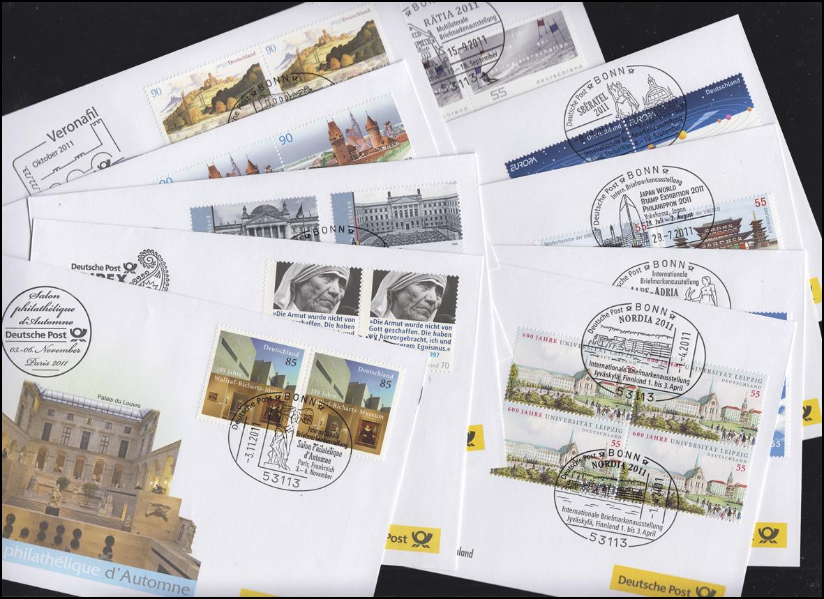 Ausstellungsbelege Jahrgang 2011 Nr. 157 bis 166 komplett mit 10 Belegen