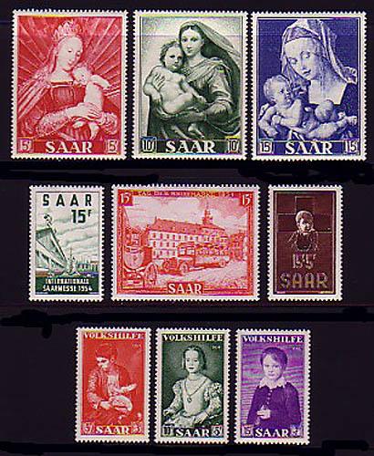 348-356 Saarland: Jahrgang 1954 komplett, **