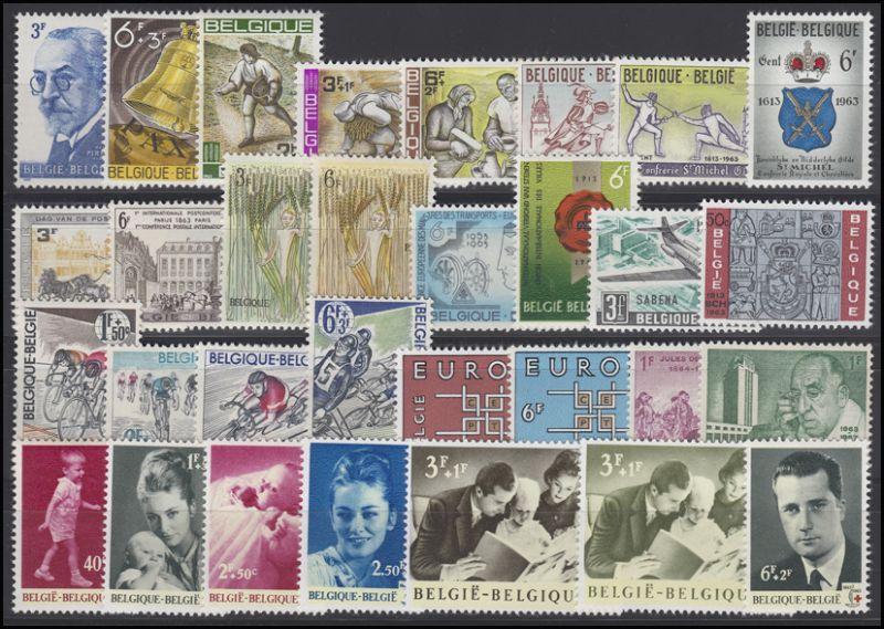 1300-1337 Belgien-Jahrgang 1963 komplett, postfrisch