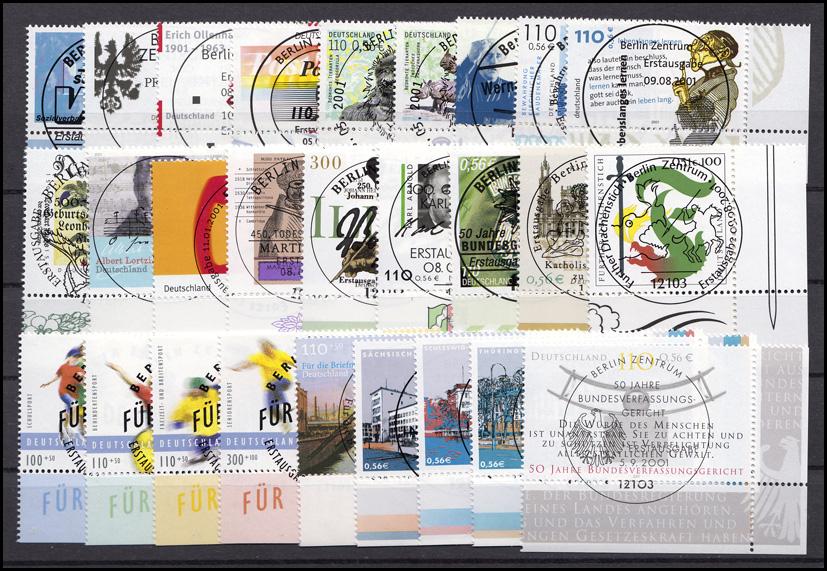 2156-2230 Bund-Jahrgang 2001 Ecken unten rechts, komplett mit ESSt Berlin