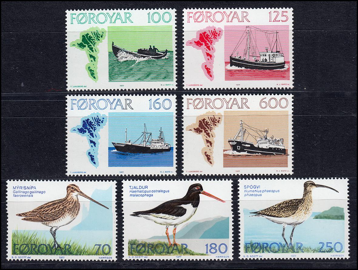 24-30 Dänemark-Färöer Jahrgang 1977 komplett, ** postfrisch