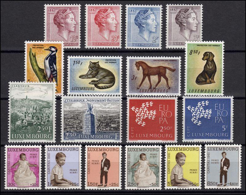 637-654 Luxemburg-Jahrgang 1961 komplett, postfrisch 0