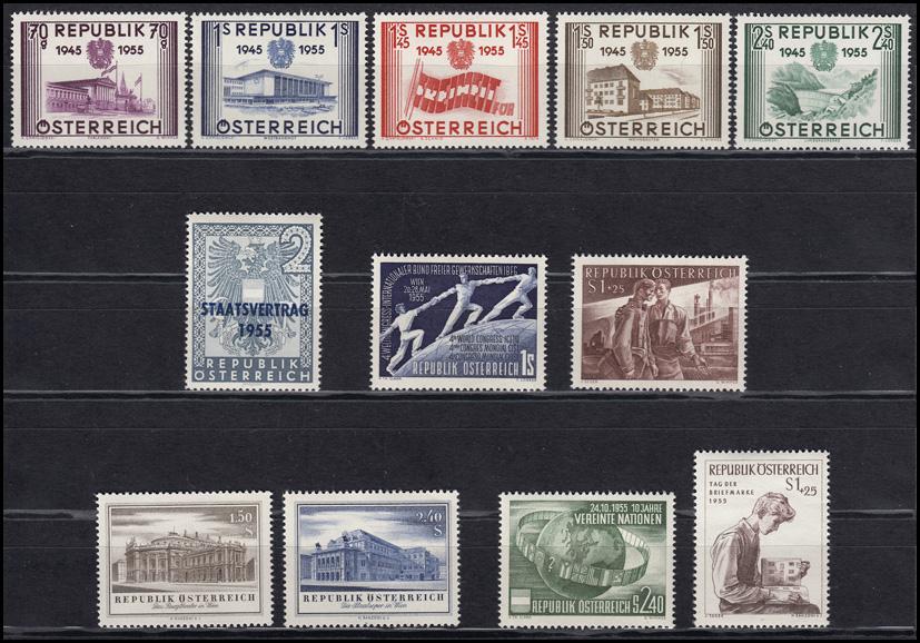 1012-1023 Österreich-Jahrgang 1955, 12 Marken komplett, postfrisch