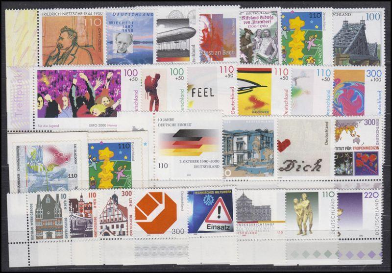 2087-2155 Bund-Jahrgang 2000 Ecken unten links, komplett **