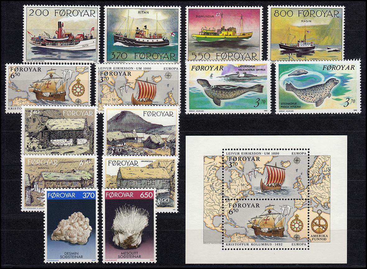 227-242 Dänemark-Färöer Jahrgang 1992 mit Block 5 komplett, ** postfrisch
