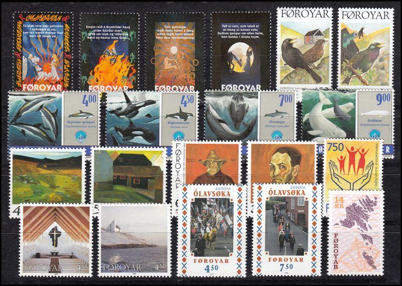 328-347 Dänemark-Färöer Jahrgang 1998 komplett, ** postfrisch