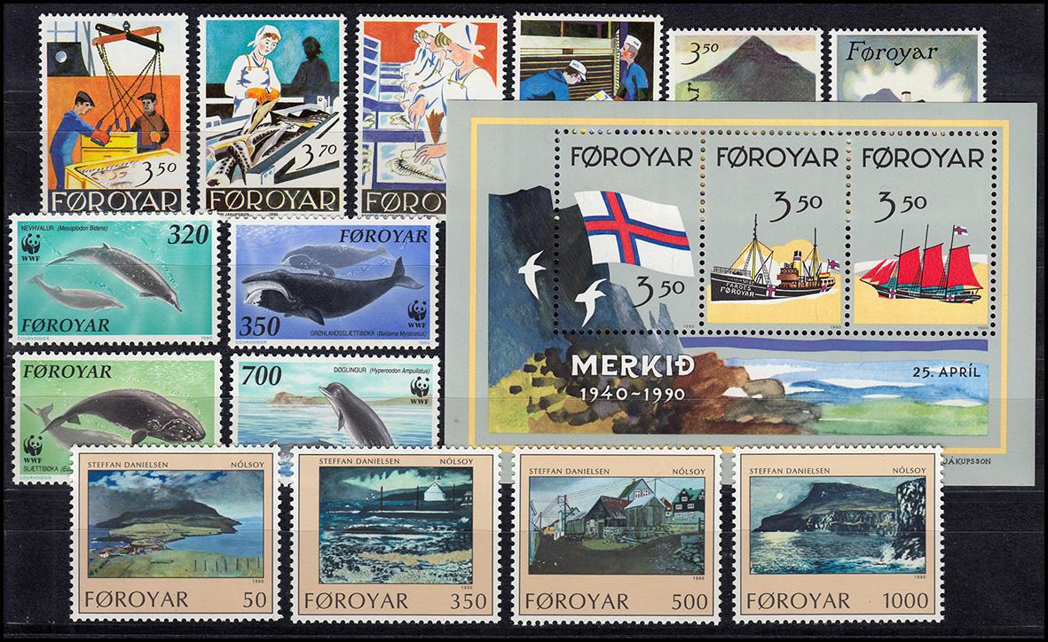 194-210 Dänemark-Färöer Jahrgang 1990 mit Block 4 komplett, ** postfrisch