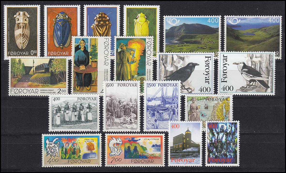 272-290 Dänemark-Färöer Jahrgang 1995 komplett, ** postfrisch
