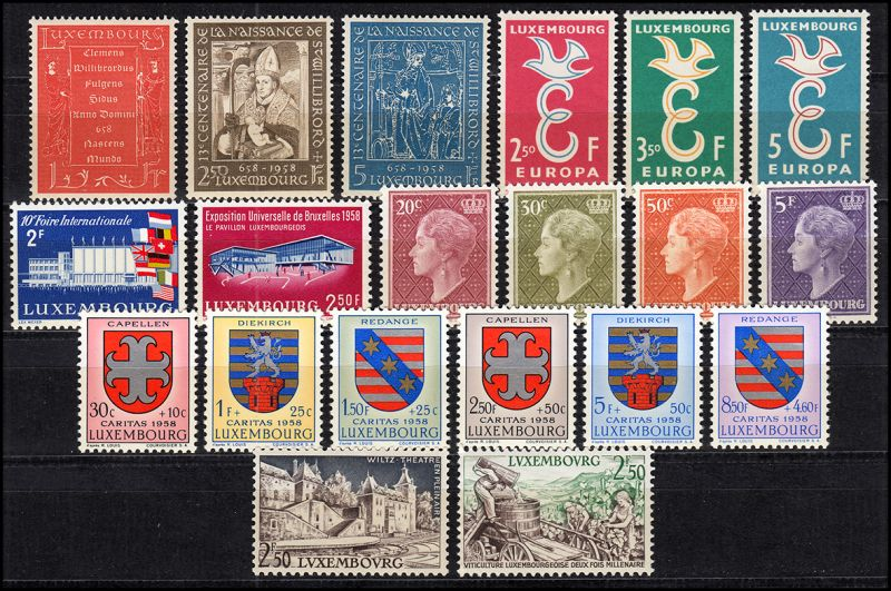 581-600 Luxemburg Jahrgang 1958 komplett, postfrisch
