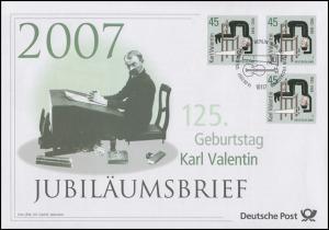 2610 Komiker und Volkssänger Karl Valentin 2007 - Jubiläumsbrief
