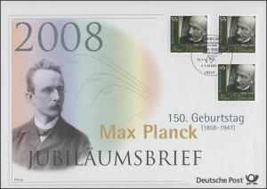 2658 Physiker und Nobelpreisträger Max Planck 2008 - Jubiläumsbrief