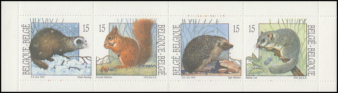 Belgien-Markenheftchen 34 Einheimische Tiere 1992, **