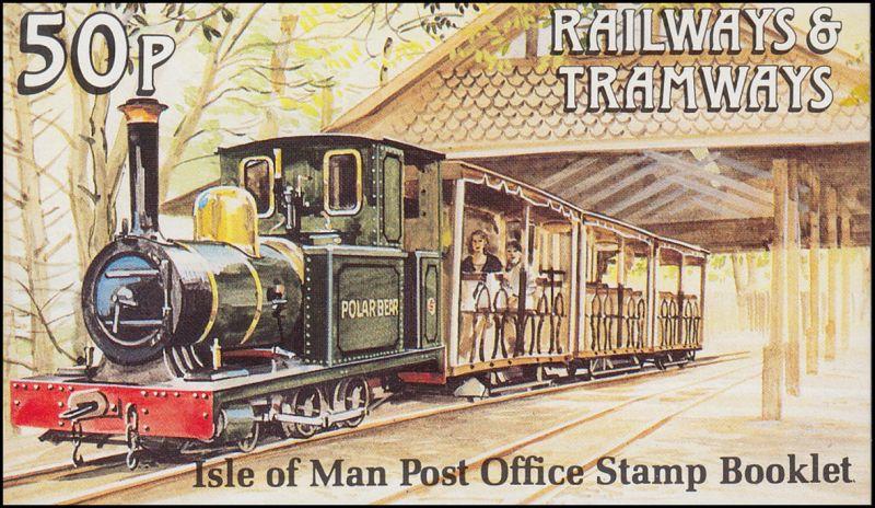 Isle of Man Markenheftchen 24, Straßenbahn und Eisenbahn 50 Pence 1991, **