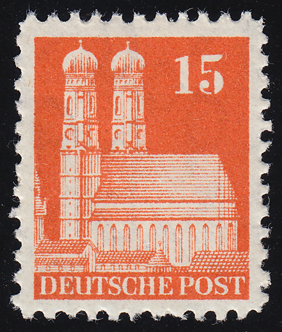 Bizone 81 WB Bauten 15 Pf., orange, weit **