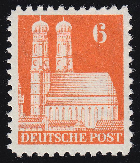Bizone 77 XB Bauten 6 Pf., orange, weit **