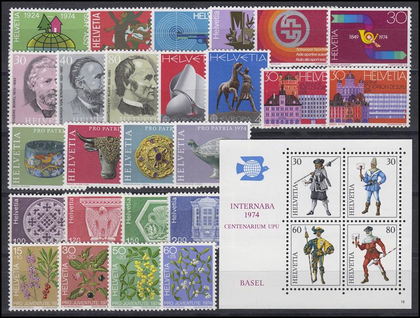 1017-1045 Schweiz-Jahrgang 1974 komplett, postfrisch