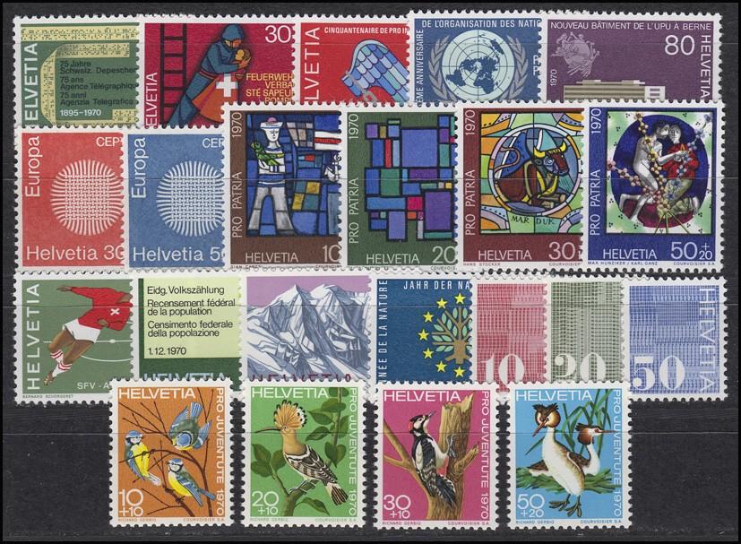 918-939 Schweiz-Jahrgang 1970 komplett, postfrisch