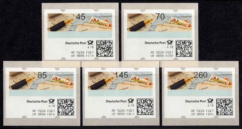10 Versuchsausgabe 5 ATM 45-260 Cent Stanztype III kpl. Tastensatz postfrisch **
