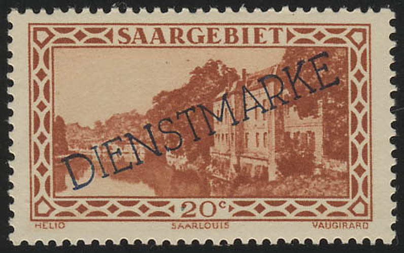Saargebiet 24 Dienstmarke 20 Cent ** postfrisch