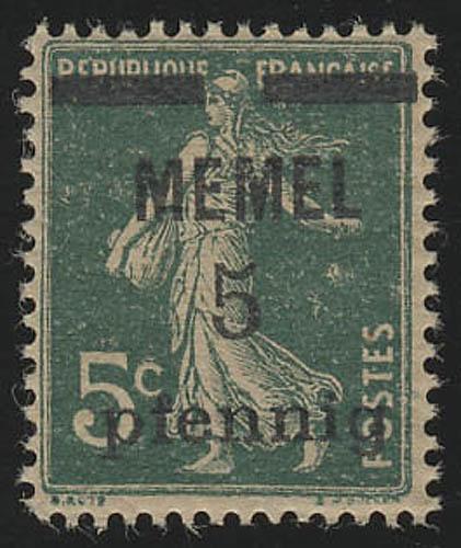 Memel 18a Aufdruck normal 5 Pf. auf 5 C, GC-Papier, ** postfrisch