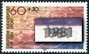1094DD Sporthilfe 60 Pf Rudern - Doppeldruck Farbe Schwarz, geprüft Schmidl, **