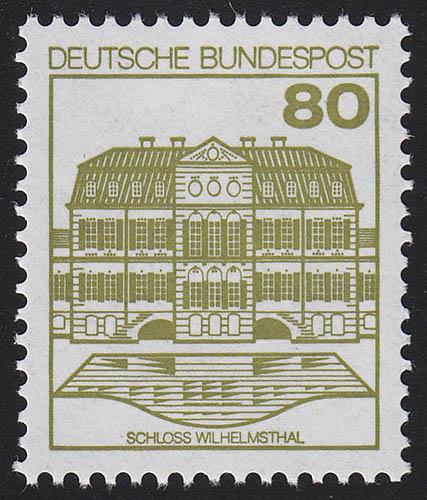 1140AII Burgen und Schlösser 80 Pf Wilhelmsthal, ** LETTERSET