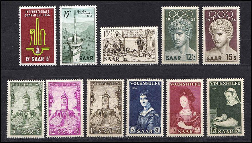 368-78 Saarland: Jahrgang 1956 kpl. **