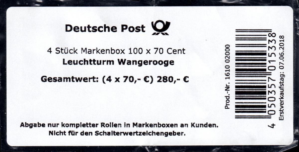 3396 Leuchtturm Wangerooge, selbstklebend, BANDEROLE für 4 Markenboxen