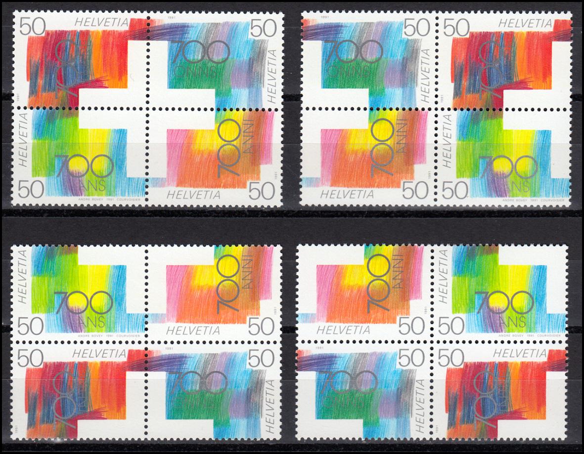 1438-1441 Schweizerische Eidgenossenschaft: 4 verschiedene Viererblöcke, Set **