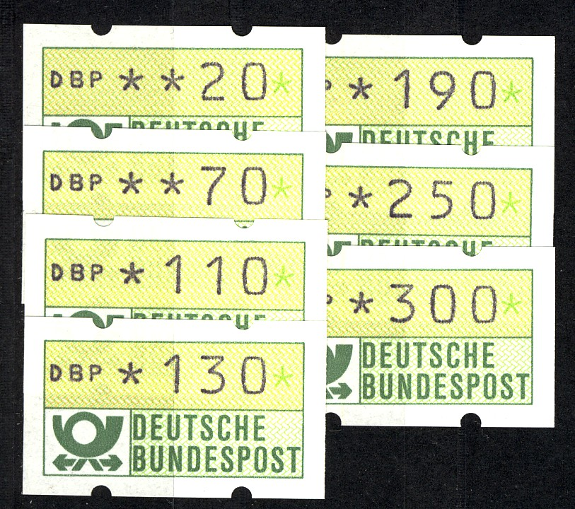 1.1I ATM Type I (7 Werte 20-300) Satz neue Wertstufen vom 1.7.1982, postfrisch