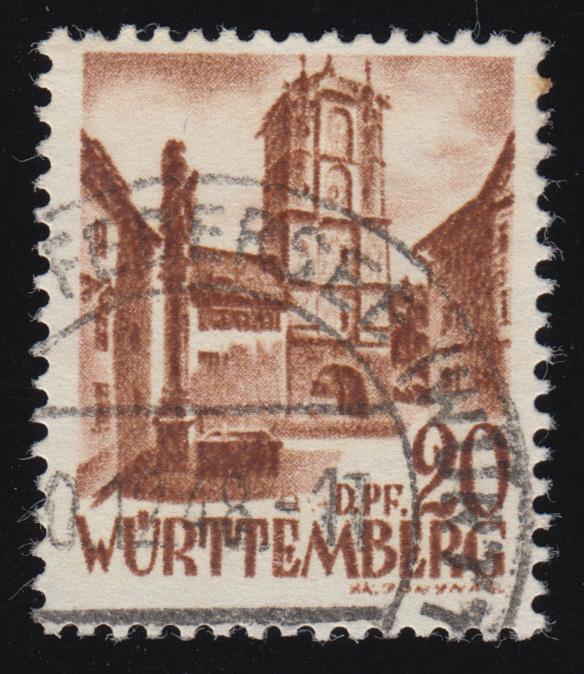 Württemberg 21y I Freimarke 20 DPf. O gestempelt