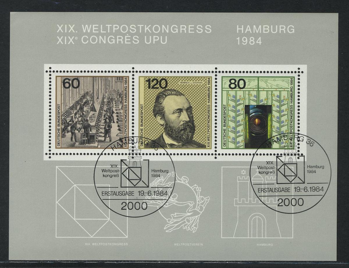 Block 19 Weltpostkongreß Hamburg 1984, ESSt Bonn
