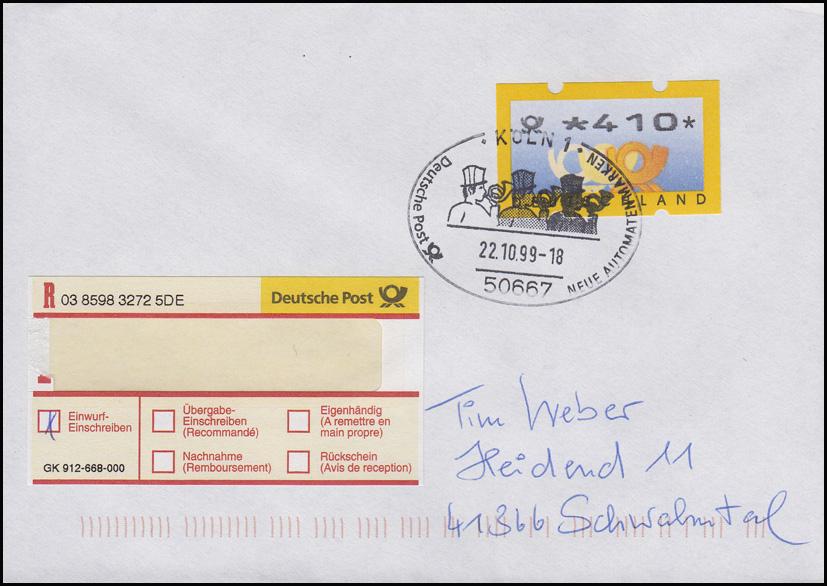 3.2 Posthörner ATM 410 als EF Einwurf-Einschreiben FDC Köln 22.10.99, codiert