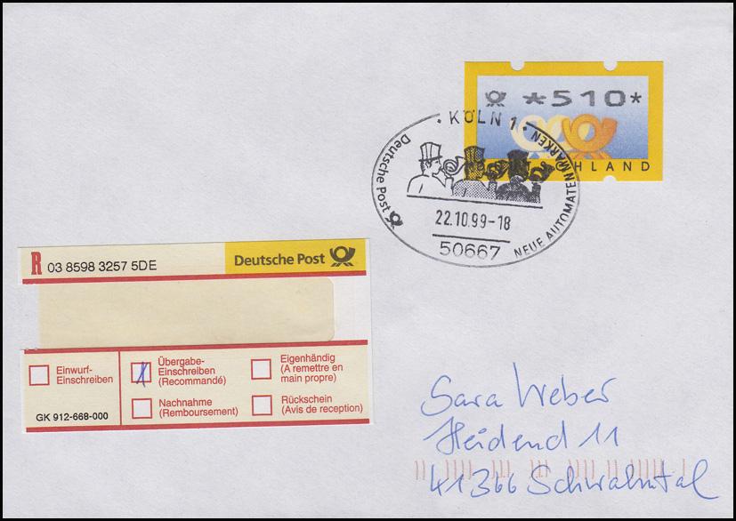 3.2 Posthörner ATM 510 als EF Übergabe-Einschreiben FDC Köln 22.10.99, codiert