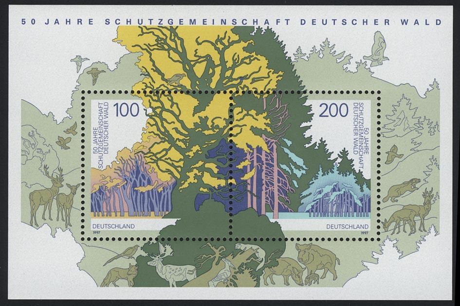 Block 38 Schutzgemeinschaft Deutscher Wald SDW 1997, postfrisch **