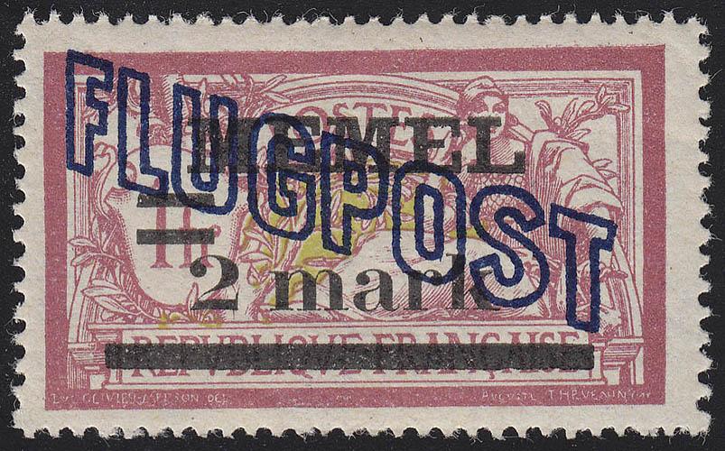 Memel 44y Flugpost 2 Mark auf 1 Fr, weißes Papier, ** postfrisch
