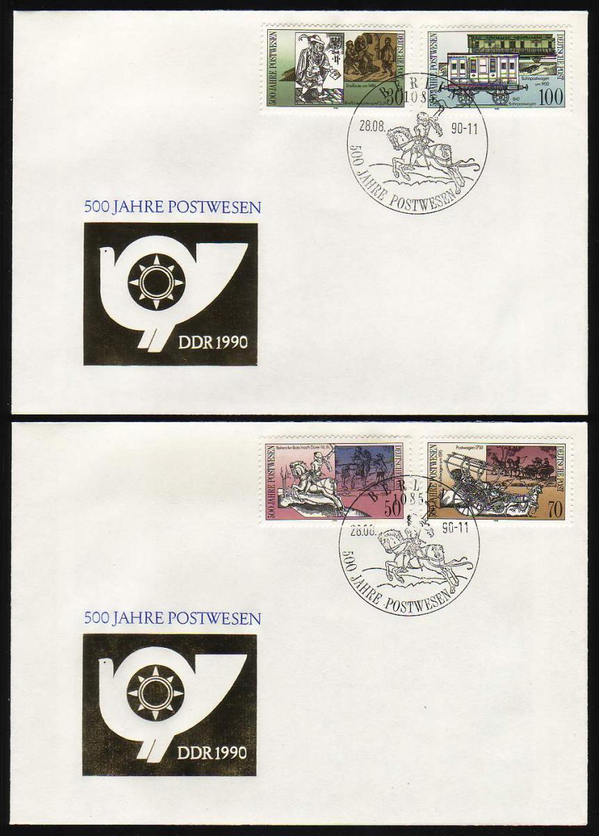 3354-3357 500 Jahre Post 1990, Satz auf FDC