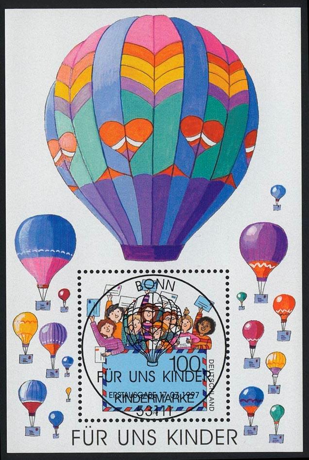 Block 40 Für uns Kinder - Luftpostbrief 1997 mit ESSt Bonn