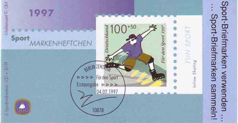 Sport 1997 Fun-Sport Inline Skating 100 Pf, 6x1899, postfrisch