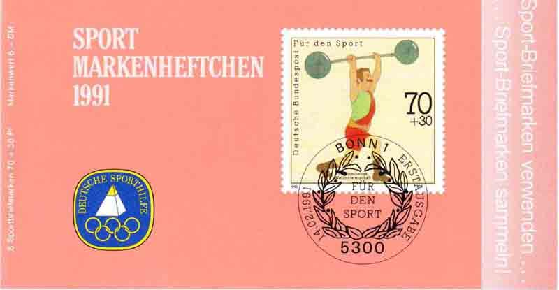 Sport 1991 Gewichtheben 70 Pf, 6x1499, postfrisch