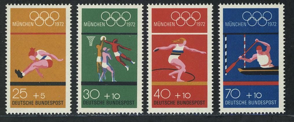 734-737 Einzelmarken aus Block 8 Olympiade - Sportarten, Satz **