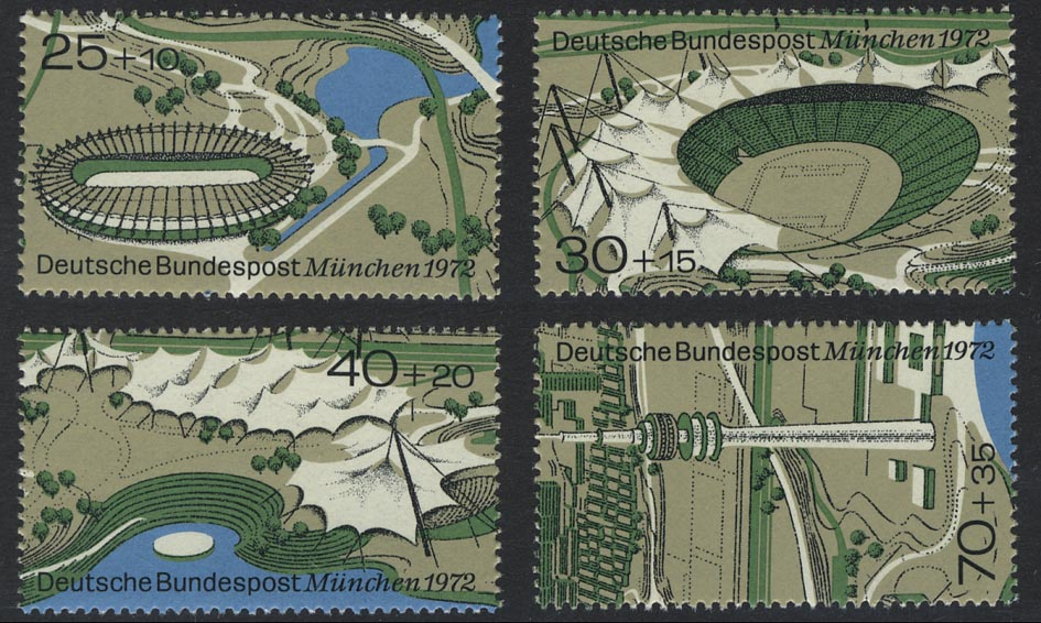 723-726 Einzelmarken aus Block 7 Olympiapark, 4 Werte, Satz **